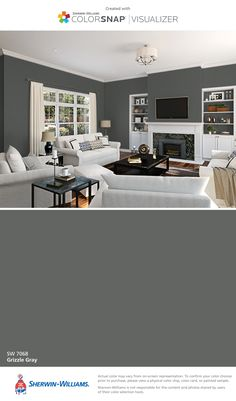 I found this color with ColorSnap® Visualizer for iPhone by Sherwin-Williams: Grizzle Gray (SW 7068).