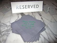 customized napkins & matchbooks that the birthday boy can use long after the party is over!