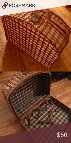 VINTAGE picnic basket Sooooo beautiful in MINT condition. Got this at an estate sale, and never used it. Has straps for wine bottles, and is just the cutest basket ever!! Vintage Other