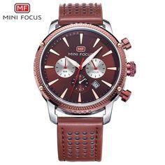 MINIFOCUS New Brand Leather Analog Chronograph Stop Watch Men Military Army Quartz Mens Watches Top Brand Luxury Male Clock