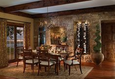vino stone wall dining area.. amazing.
