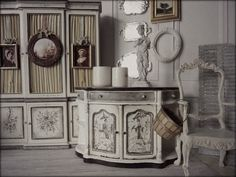 Painted in Grisaille Style Dollhouse Furniture. From The French Kissed Collection at Maritza Miniatures.