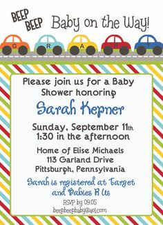 CARS Beep Beep Baby Shower/Birthday Invitation by LibbyLanePress