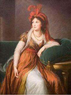 princess-galitzine, 1797 Beautiful gown! art museum, le brun, corsets, turban, baltimore, france, feathers, accessories, princesses