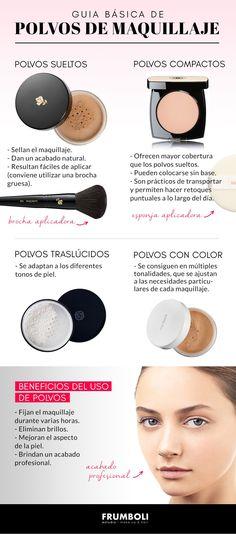 Guia de polvos de maquillaje. Aseguran un make-up duradero y con buen acabado. En esta guía básica encontrarás los tips para lograr el efecto buscado.