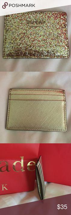 Kate Spade card holder Glitter gold kate spade card holder. Virtually unused. kate spade Accessories Key & Card Holders