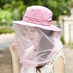 c6c62676829ec WENDYWU Camouflage Beekeeping Beekeeper Anti-mosquito Bee Bug Insect Fly  Mask Cap Hat with Head Net Mesh Face Protection Outdoor Fishing Equipment ( Pink)