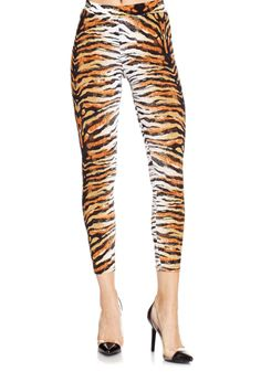 Show your stripes! Our Wild Leggings feature a tiger print and a snug fit. Style with our sexiest pumps.