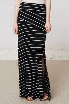 Split Stripes Maxi Skirt