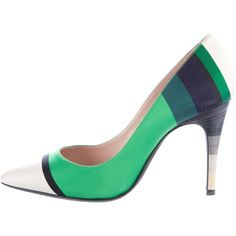 Pre-owned Lanvin Satin Striped Pumps (3.050 ARS) ❤ liked on Polyvore featuring shoes, pumps, green, pointed toe shoes, green shoes, pointy-toe pumps, lanvin pumps and colorful pumps