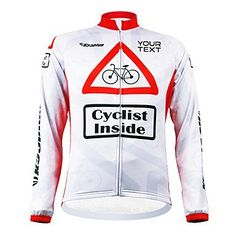 KOOPLUS Unisex Customized Spring Autumn Long Sleeve Polyester Cycling Jersey - White and Red , Text Color 2-Font 4 -- Click image to review more details.