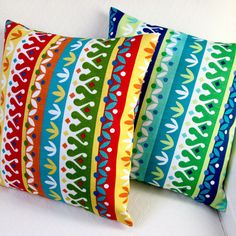 Made of polyester, this set of two pillow covers has a stripe print. You will love these two multicolored patterns Cotrell Stripes pillow covers.