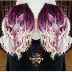 Deep lilac hair color shadow base with vanilla white strands by @hairbykoh fuchsia hair color