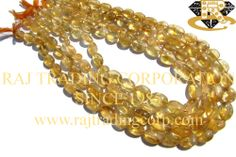 Citrine Smooth Oval (Quality D) Shape: Oval Smooth Length: 36 cm Weight Approx: 26 to 28 Grms. Size Approx: 7x9.5 to 9.5x13 mm Price $2.40 Each Strand