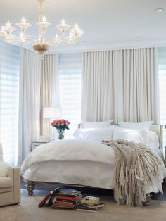 Pictures of Dreamy Bedroom Chandeliers : Interior Remodeling : HGTV Remodels   Window treatment.