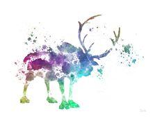 Sven Frozen ART PRINT illustration Reindeer Disney by SubjectArt