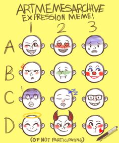 Drawing Meme, Drawing Cartoon Faces, Drawing Prompt, Expression Challenge, Drawing Challenge, Art Challenge, Facial Expressions Drawing, Expression Sheet, Drawing Reference Poses