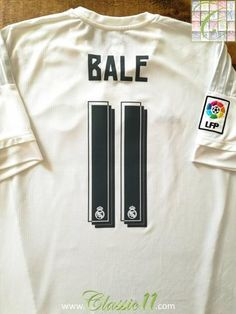 Official Adidas Real Madrid home football shirt from the 2015/2016 season. Complete with Bale #11 on the back of the shirt, La Liga patch on the sleeve and 2014 World Club Champions patch on the chest.