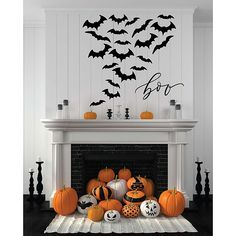"Courtside Market Boo Bats 24"" X 24"" Gallery Art Decal Multi - Scare all of your friends and family this Halloween with the Courtside Market Boo Bats Gallery Art Decal. The boo bats decal features a flock of bats with the word boo in script and can be placed nearly anywhere to complete your holiday decor."