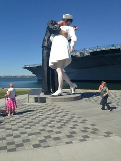 """Here is an awesome project photo of Downtown San Diego with """"The Soldier Kissing Nurse"""".   Project: Downtown San Diego Product: Aqua-Via I Color: Antique Pewter"""
