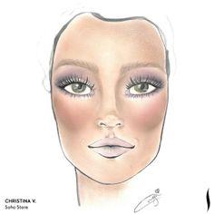 Winning SEPHORA + PANTONE UNIVERSE Face Chart Artistry Competition. Face chart designed by Christina V. of Soho Store. #Sephora #makeup #inspiration