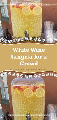 White Wine Sangria for a Crowd - Drinks - Cocktail Recipes Best Sangria Recipe Ever, Sangria Recipe For A Crowd, Red Sangria Recipes, Summer White Sangria Recipe, Cocktail Recipes For A Crowd, Crowd Recipes, Blackberry Sangria, Peach Sangria, Sangria Party