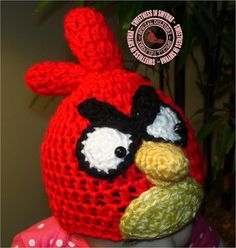 Crocheted Hat Angry Red Bird 0 to 3 months by SweetnessInSmyrna, $28.99