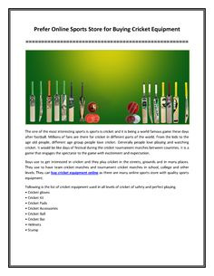 Prefer Online Sports Store for Buying Cricket Equipment