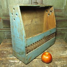 Granny's Old Wooden Robin's Egg Blue Canted Farm Bin - Old Paint  #HannahsHouseAntiques #Primitives http://www.rubylane.com/item/497177-9440/Grannyx27s-Wooden-Robinx27s-Egg-Blue-Canted