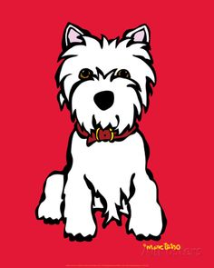 Westie on Red Art Print at AllPosters.com