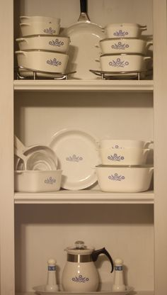 vintage Corning Ware with the cornflower pattern.  A fun collection that reminds me of home cooked meals by my mother
