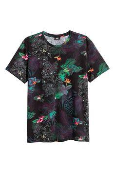 Katoenen T-shirt - Zwart/dessin - HEREN   H&M NL