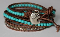 Leather, turquoise and pewter.