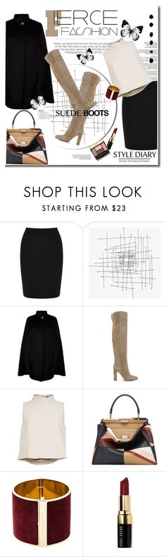 """""""Suede Boots"""" by stylemeup-649 ❤ liked on Polyvore featuring Kershaw, Warehouse, Harrods, Gianvito Rossi, TIBI, Fendi, Dsquared2, Bobbi Brown Cosmetics and Guerlain"""