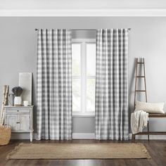 Farmhouse Window Treatments, Window Treatments Living Room, Living Room Windows, Kitchen Windows, Plaid Curtains, Window Curtains, Curtain Panels, Window Panels, Window Coverings