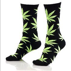 HUF Weed Socks Marijuana socks by the brand HUF. NWT, in original packaging. Absolutely no flaws! Not really my style, friend got me these as a gift so I'm unsure the exact size, but should fit womens shoe size 6-10 if you are a size S (the calf opening is narrow, according to website measurements). HUF Accessories Hosiery & Socks