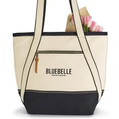 Trendy promotional bag is made from stylish and sturdy 16 oz. cotton with a top zippered closure for the main compartment and an additional front zippered pocket. Gifts For Boaters, Promotional Bags, Retractable Badge Holder, Design Department, Beach Tote Bags, Black And Navy, Cabana, Fashion Bags, Gym Bag