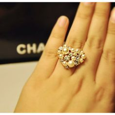 Glitter Gems & Pearls Heart Cocktail Ring - Rings - Watches & Jewelry Free Shipping