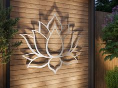 Lotus Flower Large Outdoor Metal Wall Art Garden Sculpture | Etsy Modern Outdoor Wall Art, Modern Wall Art, Outdoor Walls, Outdoor Metal Wall Decor, Silver Wall Art, Silver Walls, Art Mural En Plein Air, Flower Wall, Lotus Flower