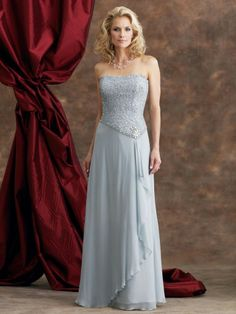Silk Chiffon Strapless Hand Beaded Lace Bodice A-line Mother Bride Dress