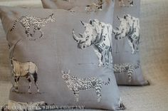 Vintage style African safari animal cushion cover in grey and