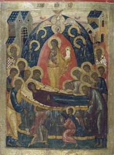 The Dormition of the Theotokos Russian Icons, Pentecost, Black History Facts, Orthodox Icons, Religious Art, Ancient Art, Religion, Photo Wall, Jesus Christ