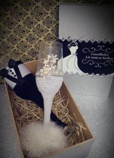 Taças para noivos Taças decoradas