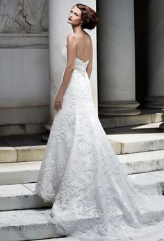 Brides: Casablanca Bridal. Beautiful scalloped A-line gown with beaded band accent at waist. The beaded lace over Silky Satin is finished with eyelash fringe.