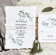 Modern Greenery, Handmade Paper Wedding Invitation