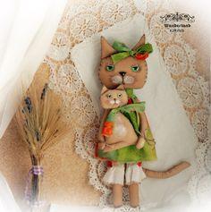 Katzen Mama mit Kind, Landhausstil, Shabby von Wunderland KIRINS  auf DaWanda.com