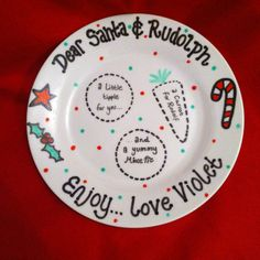 Items similar to Personalised Plate for Santa UK - hand painted and unique design for each plate! Childrens names or family name on Etsy