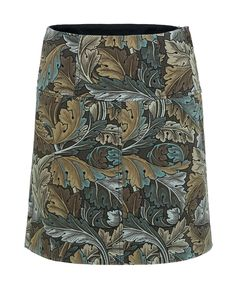 Marc by Marc Jacobs Acanthus Army Cotton A Line Skirt in Elm Brown Multi