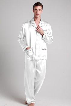 White color 100% perfect and quality mens silk pajama suit are on sale for you. #pajamas #silk #lilysilk