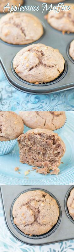Applesauce Muffins Collage | Inspiration Kitchen -- maybe with Apple pieces? Homemade apple butter?
